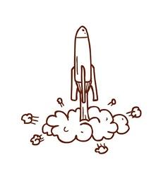 Hand drawn rocket taking off vector