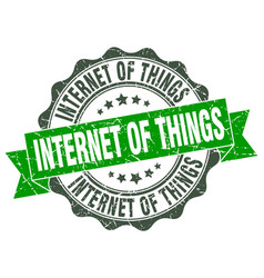 internet of things stamp sign seal vector image vector image