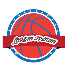 isolated basketball emblem vector image vector image