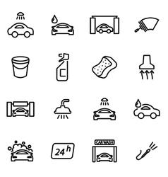 line car wash icon set vector image vector image