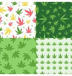 Marijuana background set seamless patterns vector