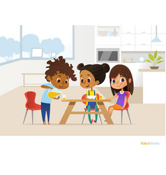 multiracial children preparing lunch by themselves vector image vector image