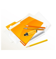 note pad pen folder felt tip v vector image