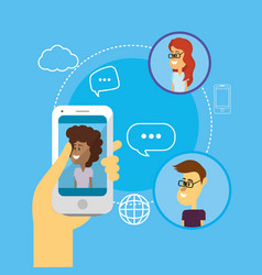 People with smartphones and chat bubbles vector