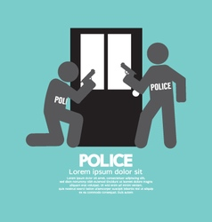 Policemen In Front Of The Door Symbol Illus vector image