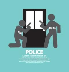 Policemen in front of the door symbol illus vector