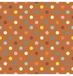Polka dots on brown background seamless pattern vector image vector image