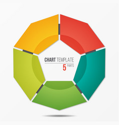 Polygonal circle chart infographic template with 5 vector