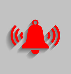 Ringing bell icon red icon with soft vector