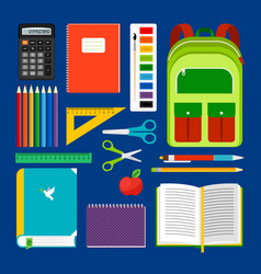 School workplace items collection vector