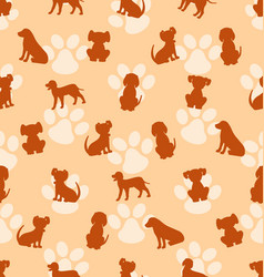 seamless pattern with different breeds of dogs vector image vector image