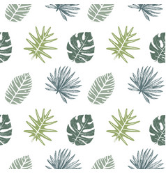 seamless pattern with hand drawn tropical leaves vector image vector image