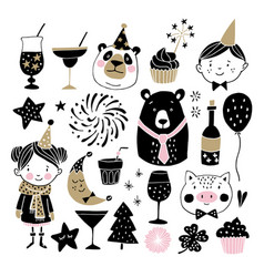 Set of hand drawn new year or birthday graphic vector