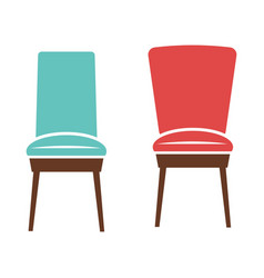 soft comfortable chairs with wooden legs isolated vector image vector image