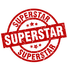 Superstar round red grunge stamp vector