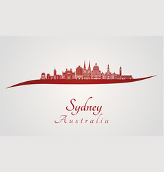 sydney v3 skyline in red vector image vector image