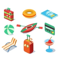 Travel Objects Icon Set Flat 3d Isomectric Modern vector image