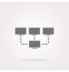 tv set on icon button design element vector image vector image