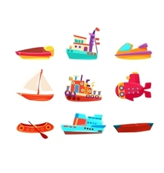 Water transport toy boats icon collection vector