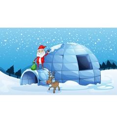 an igloo and a santa clause vector image