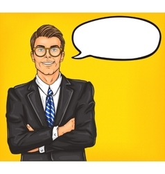 Confident pop art man in a suit and glasses vector