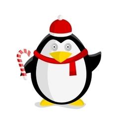 Christmas Penguin Flat Design vector image
