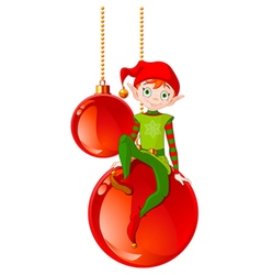 Christmas elf sitting on ball vector