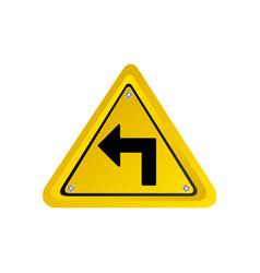 metallic realistic yellow triangle frame turn left vector image