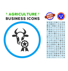 Cow award rounded icon with set vector