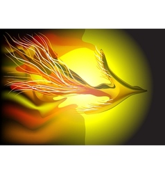 Flying fiery bird vector