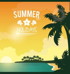 Poster sunset seaside with logo summer holydays vector