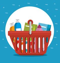 supermarket shopping basket cartoon vector image