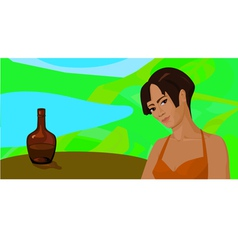 Girl outdoors at a table with a bottle vector