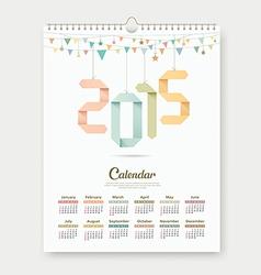 Calendar 2015 Paper origami number template design vector image
