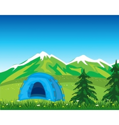 Tent in mountain vector