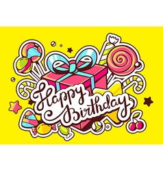 Gift box and confection with text happy vector