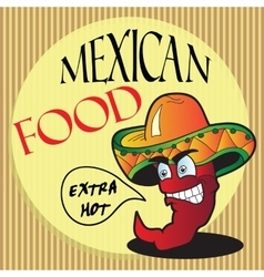Mexican pepper cartoon character vector