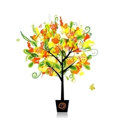 Floral tree in the pot for your design vector