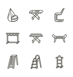 Housekeeping black line icons vector