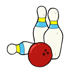 Ten pin bowling comic cartoon vector