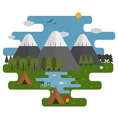 Mountain lake camp ecological landscape vector