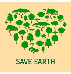 Heart in form of green trees save nature concept vector