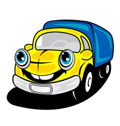 Smiling truck in cartoon style vector