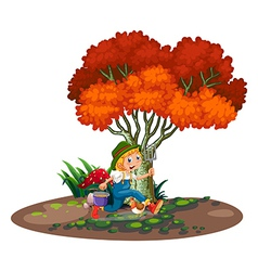 A happy young gardener vector image vector image