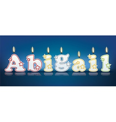 Abigail written with burning candles vector