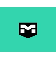 Abstract letter m shield logo design template vector