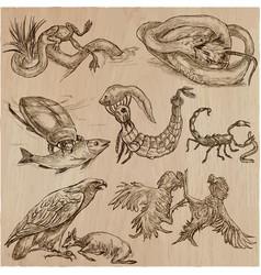 Animals in action predators - an hand drawn vector