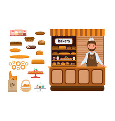 Bakery products elite bread sweets seller vector