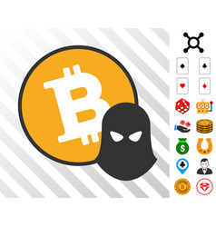 Bitcoin spy icon with bonus vector