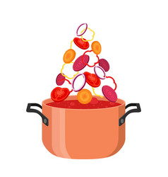 Borsch pot with ingredients red ukranian soup vector
